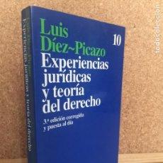 Libros de segunda mano: EXPERIENCIAS JURIDICAS Y TEORIA DEL DERECHO - LUIS DIEZ-PICAZO - ARIEL - BUEN ESTADO - GCH. Lote 155588014