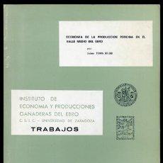 Libros de segunda mano: THOS RUHI, JAIME. ECONOMÍA DE LA PRODUCCIÓN PORCINA EN EL VALLE MEDIO DEL EBRO. ZARAGOZA, 1973.. Lote 155588094