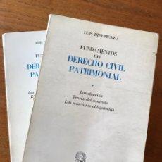 Libros de segunda mano: FUNDAMENTOS DEL DERECHO CIVIL PATRIMONIAL, LUIS DÍEZ-PICAZO (LOS DOS VOLÚMENES). Lote 156523458