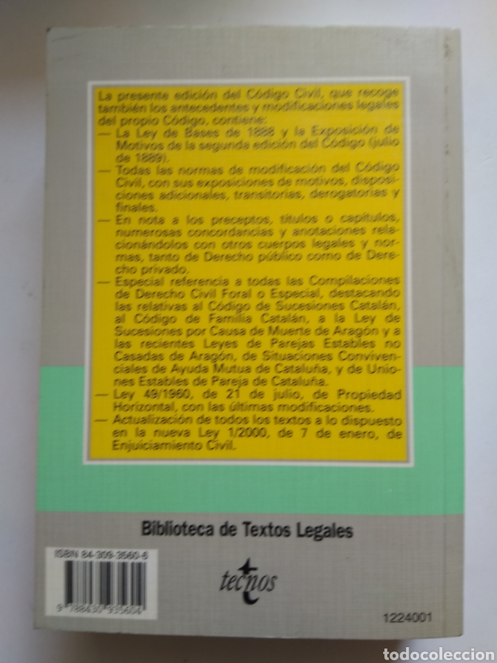 Libros de segunda mano: CODIGO CIVIL/TECNOS - Foto 2 - 158123085