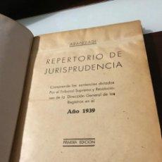 Libros de segunda mano: ANTIGUO LIBRO REPERTORIO DE JURISPRUDENCIA PRIMERA EDICIÓN 1939. Lote 162509478