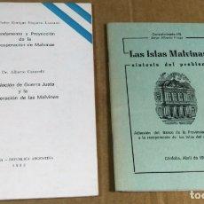 Libros de segunda mano: LOTE DE 2 FOLLETOS SOBRE LAS ISLAS MALVINAS. EDITADOS EN ARGENTINA. DERECHO. GUERRA JUSTA. Lote 166282206