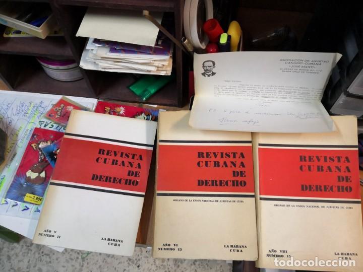 3 MAGNÍFICOS LIBROS REVISTA CUBANA DE DERECHO AÑOS 70 MÁS 1 CARTA TRIPULANTE DE BARCO (Libros de Segunda Mano - Ciencias, Manuales y Oficios - Derecho, Economía y Comercio)