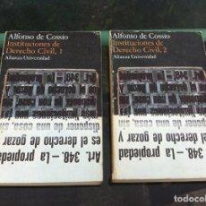 Libros de segunda mano: ALFONSO DE COSSÍO. INSTITUCIONES DE DERECHO CIVIL (2 TOMOS). ED. ALIANZA, 1975. Lote 169995628
