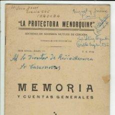 Libros de segunda mano: LA PROTECTORA MENORQUINA. MEMORIA Y CUENTAS GENERALES. AÑO 1950. (MENORCA.1.5). Lote 170430624