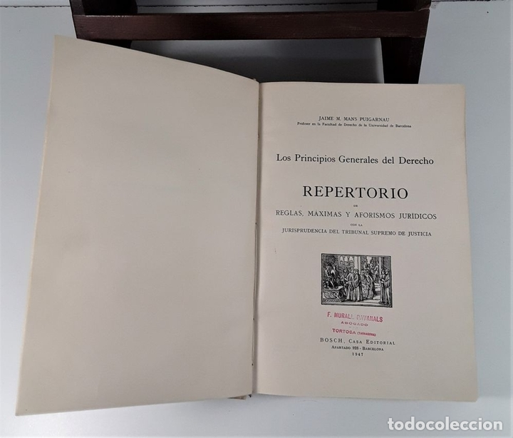 Libros de segunda mano: LOS PRINCIPIOS GENERALES DEL DERECHO, REPERTORIO. J. M. MANS. EDIT. BOSCH. 1947. - Foto 5 - 172296078