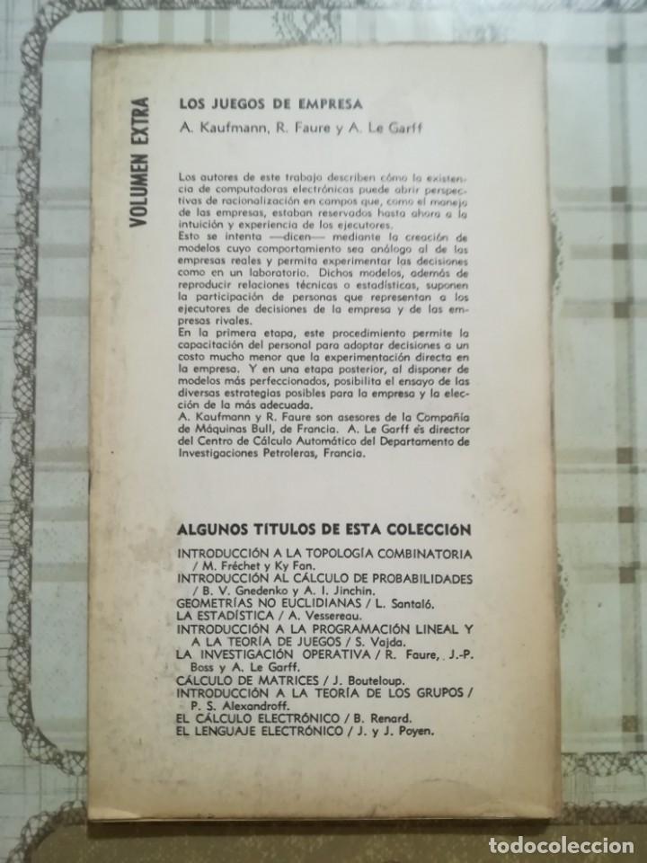 Libros de segunda mano: Los juegos de empresa - A. Kaufmann / R. Faure / A. Le Garff - Impreso en Buenos Aires 1969 - Foto 2 - 172710415