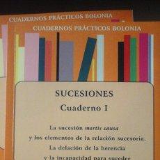 Libros de segunda mano: SUCESIONES. CUADERNO I: LA SUCESIÓN MORTIS CAUSA (MADRID, 2011) CUADERNOS PRÁCTICOS BOLONIA. Lote 172715369