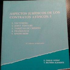 Livros em segunda mão: ASPECTOS JURIDICOS DE LOS CONTRATOS ATIPICOS I. 1. FACTORING; 2. JOINT VENTURE; 3. TARJETAS DE CREDI. Lote 173710912
