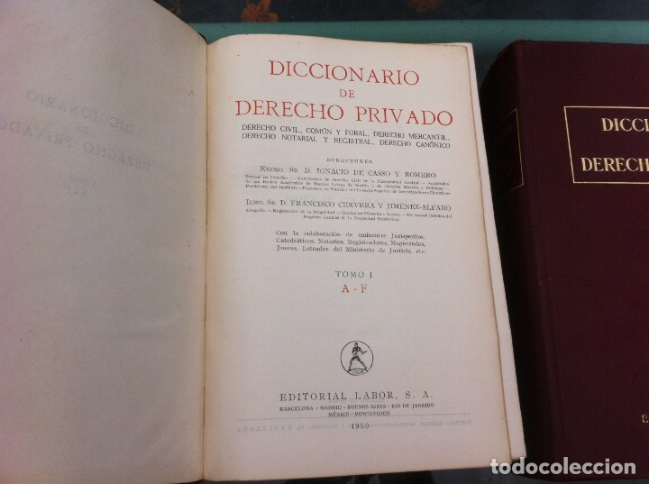 Libros de segunda mano: DICCIONARIO DE DERECHO PRIVADO (2 TOMOS) IGNACIO DE CASSO - FRANCISCO CERVERA. ED. LABOR, 1950. - Foto 3 - 174558408