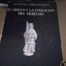 Libros de segunda mano: EL ORIGEN Y LA EVOLUCIÓN DEL DERECHO. ALFONSO GARCÍA-GALLO. Lote 175849800