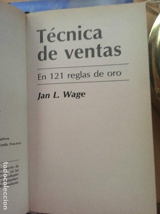 Libros de segunda mano: TECNICA DE VENTAS EN CIENTO VENTIUNA REGLAS DE ORO JAN L.WAGE - Foto 3 - 176423130