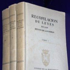 Libros de segunda mano: RECOPILACIÓN DE LEYES DE LOS REYNOS DE INDIAS... 3 TOMOS. Lote 179559335