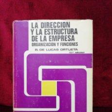 Libros de segunda mano: LA DIRECCIÓN Y LA ESTRUCTURA DE LA EMPRESA. ORGANIZACIÓN Y FUNCIONES. EDITORIAL ÍNDEX. AÑO 1977.. Lote 181483658