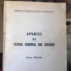 Libros de segunda mano: TEORIA GENERAL DEL SEGURO APUNTES CURSO 1965 -66 FACULTAD DE CIENCIAS POLITICAS Y ECONOMICAS . Lote 183055160