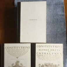 Libros de segunda mano: CONSTITUTIONS Y ALTRES DRETS DE CATHALUNYA. TOMOS: I, II, III. EDITORIAL BASE. EDICIÓ FACSIMILAR.. Lote 185713533