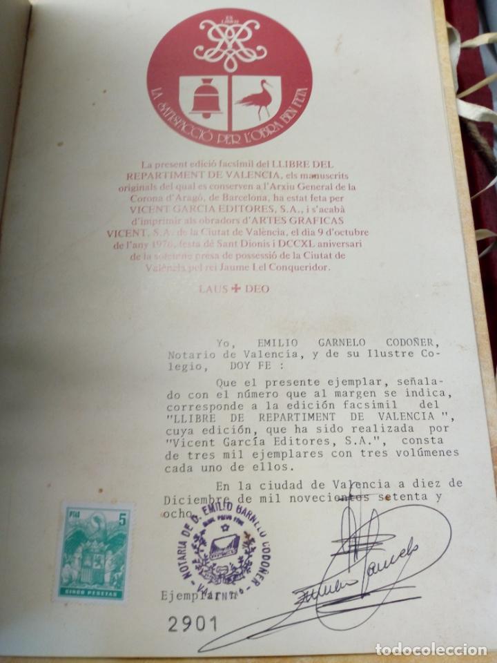 Libros de segunda mano: LIBRO - LIBRE DEL REPARTIMENT DE VALENCIA. VICENT GARCIA EDITORES. EDICIÓN FACSIMIL .1978 -NUMERADO - Foto 3 - 187578372