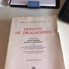Libros de segunda mano: DERECHO DE OBLIGACIONES. Lote 190008667