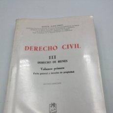 Libros de segunda mano: DERECHO CIVIL III DERECHO DE BIENES. Lote 191062998