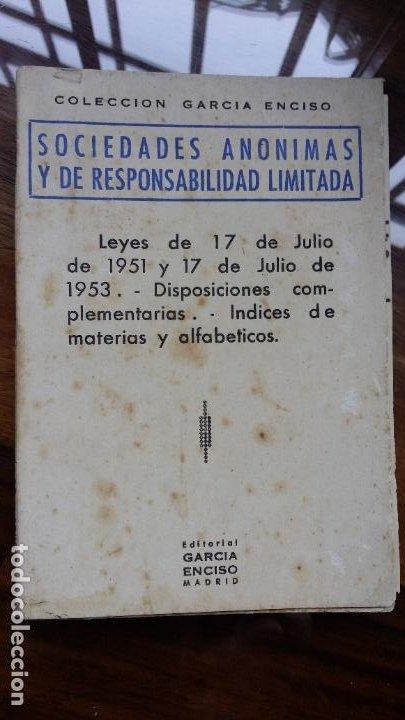SOCIEDADES ANÓNIMAS Y DE RESPONSABILIDAD LIMITADA 1961 ED. GARCIA ENCISO (Libros de Segunda Mano - Ciencias, Manuales y Oficios - Derecho, Economía y Comercio)