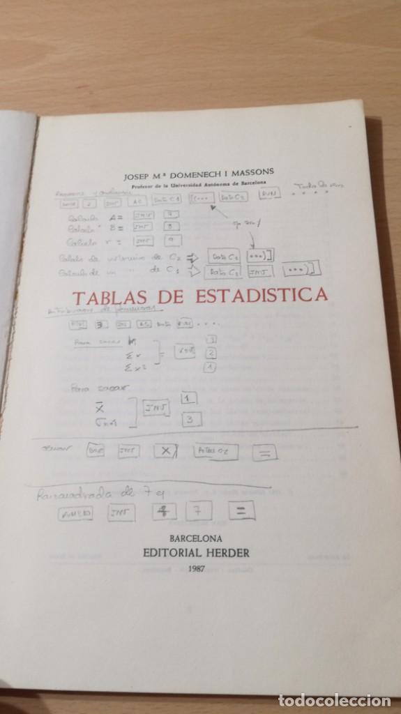 Libros de segunda mano: TABLAS DE ESTADISTICA - J M DOMENECH - HERDER/ G602 - Foto 4 - 194242645