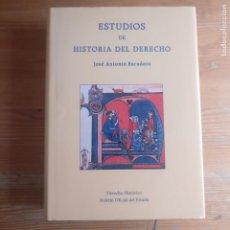 Libros de segunda mano: ESTUDIOS DE HISTORIA DEL DERECHO ESCUDERO JOSE ANTONI PUBLICADO POR BOLETIN OFICIAL DEL (2014) 822P. Lote 194269726
