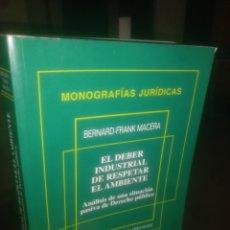 Libros de segunda mano: EL DEBER INDUSTRIAL DE RESPETAR EL AMBIENTE. Lote 194498371