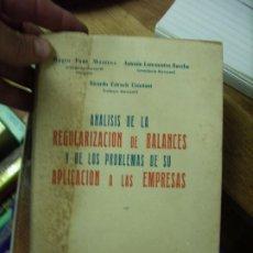 Libros de segunda mano: ANÁLISIS DE LA REGULACIÓN DE BALANCES Y DE LOS PROBLEMAS DE SU APLICACIÓN A LAS EMPRESAS. L.3116-524. Lote 195084837