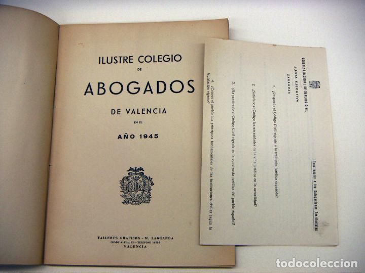 Libros de segunda mano: ILUSTRE COLEGIO DE ABOGADOS DE VALENCIA 1945 - Foto 3 - 195382785