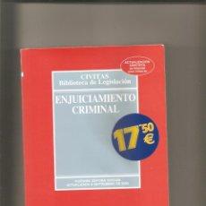 Libros de segunda mano: 1247. ENJUICIAMIENTO CRIMINAL. Lote 196003416