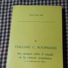 Libros de segunda mano: TRES ENSAYOS SOBRE EL ESTADO DE LA CIENCIA ECONÓMICA, TJALLING C. KOOPMANS, 4, 1980.. Lote 200295555