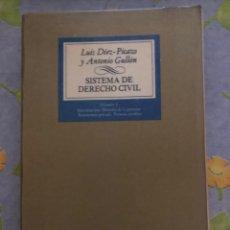 Libros de segunda mano: SISTEMA DE DERECHO CIVIL - VOLUMEN I - LUIS DÍEZ-PICAZO Y ANTONIO GULLÓN - TECNOS. Lote 204329936