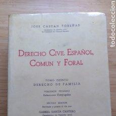 Livros em segunda mão: DERECHO CIVIL ESPAÑOL, COMÚN Y FORAL TOMO 5º VOLUMEN 1º - J. CASTAN TOBEÑAS. Lote 207070578
