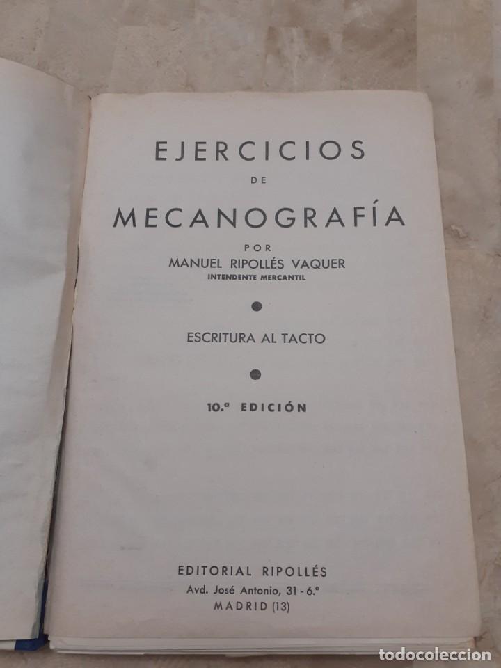 Libros de segunda mano: Ejercicios de Mecanografia Manuel Ripolles 10º edicion - Foto 2 - 208434557