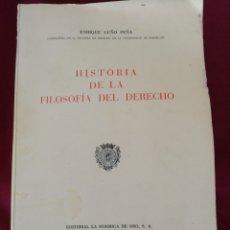 Libros de segunda mano: HISTORIA DE LA FILOSOFIA DEL DERECHO. ENRIQUE LUGO PEÑA. INCLUYE PROGRAMA DE FILOSOFIA DEL DERECHO. Lote 211785597