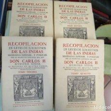 Libros de segunda mano: RECOPILACIÓN DE LEYES DE LOS REYNOS DE LAS INDIAS - 4 TOMOS COMPLETA. EDI FACSÍMIL 1973 DE 1681.. Lote 212877940