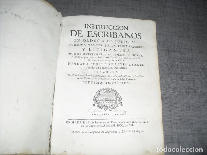 Libros de segunda mano: libro derecho antiguo instruccion de escribanos Josep Juan y Colom 1777 - Foto 3 - 214655757