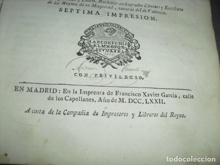Libros de segunda mano: libro derecho antiguo instruccion de escribanos Josep Juan y Colom 1777 - Foto 5 - 214655757