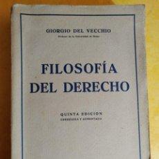 Libros de segunda mano: FILOSOFÍA DEL DERECHO, GIORGIO DEL VECCHIO, PYMY 14. Lote 217027058