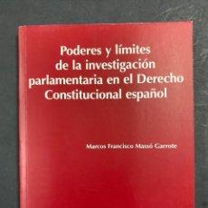 Livros em segunda mão: PODERES Y LÍMITES DE LA INVESTIGACIÓN PARLAMENTARIA EN EL DERECHO CONSTITUCIONAL ESPAÑOL. M.F. MASSÓ. Lote 217963043