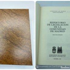 Libros de segunda mano: REPERTORIO DE LEGISLACIÓN DE LA COMUNIDAD DE MADRID. 2ª ED. MADRID, 1990. ED. CIVITAS. PAGS:1291. Lote 218382668