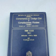 Livros em segunda mão: COMENTARIOS AL CÓDIGO CIVIL Y COMPILACIONES FORALES.TOMO XXII. VOL. 1. ARTICULOS 1740 A 1808. Lote 218470655