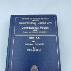 Livros em segunda mão: COMENTARIOS AL CÓDIGO CIVIL Y COMPILACIONES FORALES.TOMO XX. VOL. 1. ARTICULOS 1542 A 1582. Lote 218470772