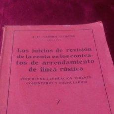 Libros de segunda mano: LOS JUICIOS DE REVISIÓN DE LA RENTA EN LOS CONTRATOS DE ARRENDAMIENTO DE FINCA RÚSTICA. Lote 220447788