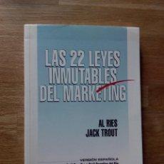 Livres d'occasion: LAS 22 LEYES INMUTABLES DEL MARKETING / AL RIES Y JACK TROUT.. Lote 220638977