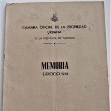 Libros de segunda mano: CÁMARA OFICIAL DE LA PROPIEDAD URBANA DE LA PROVINCIA DE VALENCIA - MEMORIA EJERCICIO 1941. Lote 221457146