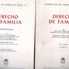 Libros de segunda mano: DERECHO DE FAMILIA. 2 VOL. JOSE L. LACRUZ - F. SANCHO REBULLIDA Y F. RIVERO. J.M. BOSCH EDITOR 1989. Lote 222918373
