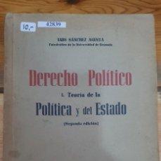 Libros de segunda mano: 42839 - DERECHO POLITICO - TEORIA DE LA POLITICA Y DEL ESTADO - POR LUIS SANCHEZ AGESTA - AÑO 1945. Lote 223429525