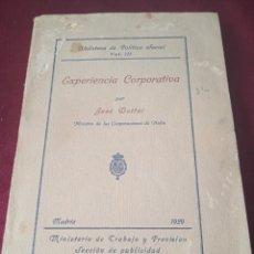 Libros de segunda mano: EXPERIENCIA CORPORATIVA. 1929. Lote 231590310
