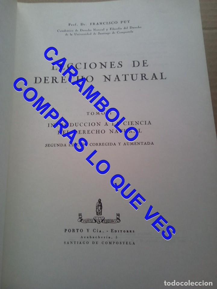 Libros de segunda mano: lecciones de derecho natural FRAMCISCO DE PUY G8 - Foto 3 - 247154335